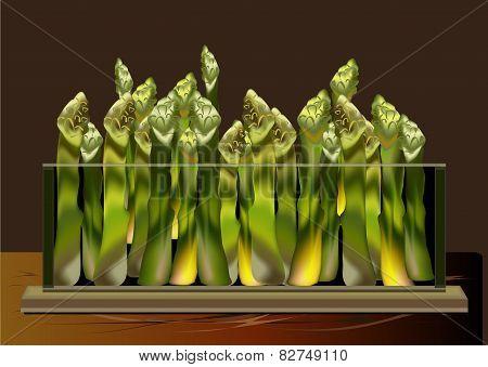 Asparagus In A Glass Bowl
