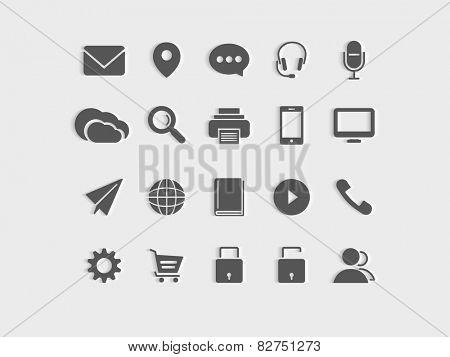Set of web icons on grey background.