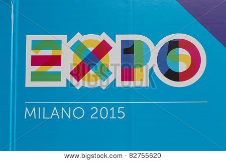 Detail Of Expo Logo At Bit 2015, International Tourism Exchange In Milan, Italy