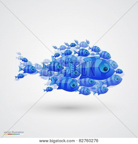 Pack of fish. Vector