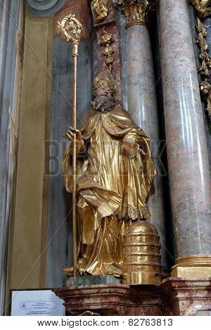 GRAZ, AUSTRIA - JANUARY 10, 2015: Saint Ambrose, altar of Saint John of God in Barmherzigenkirche church in Graz, Styria, Austria on January 10, 2015.
