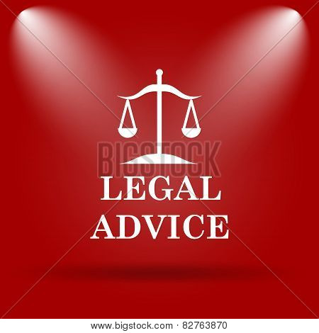 Legal advice icon. Flat icon on red background. poster