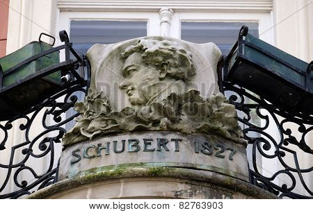 GRAZ, AUSTRIA - JANUARY 10, 2015: Franz Schubert, bas relief in memory of his visit in Graz, Styria, Austria on January 10, 2015.