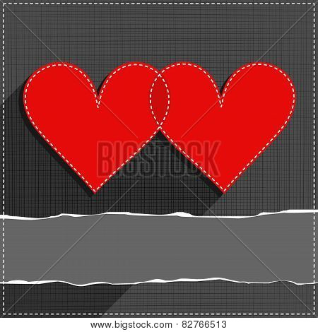 two hearts in love Valentines Day card with torn paper