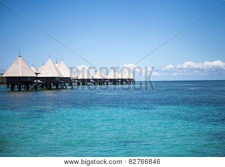 Overwater bungalows paradise beach