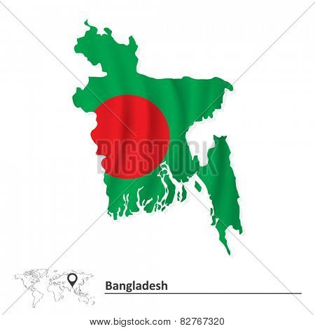 Map of Bangladesh with flag - vector illustration