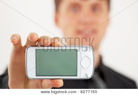 Man Shows Lcd Screen Mobile Phone