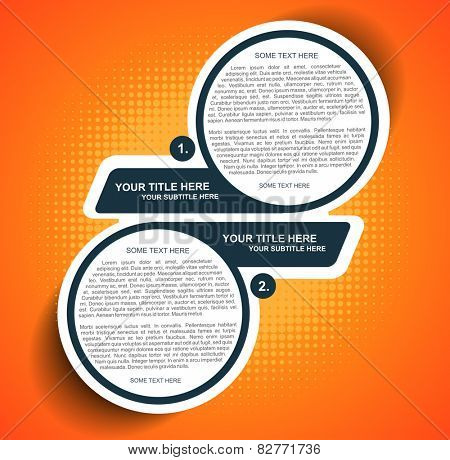 Vector orange background diagram with two steps