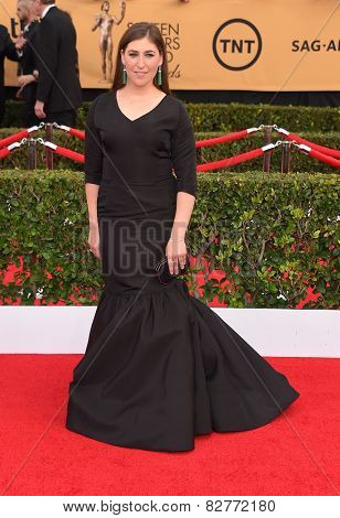 LOS ANGELES - JAN 25:  Mayim Bialik arrives to the 21st Annual Screen Actors Guild Awards  on January 25, 2015 in Los Angeles, CA