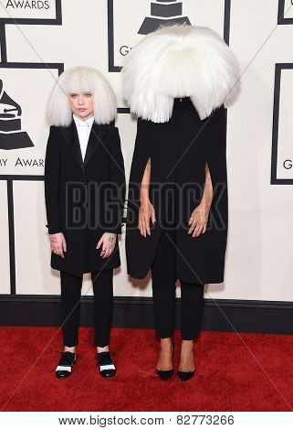 LOS ANGELES - FEB 08:  Sia & Maddie arrives to the Grammy Awards 2015  on February 8, 2015 in Los Angeles, CA