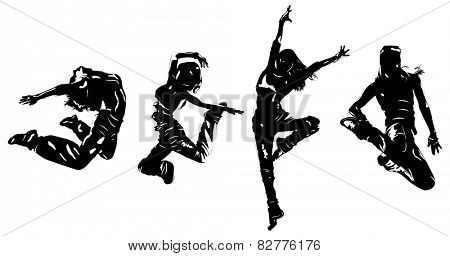 Young women dancers jumping. EPS 10 format.