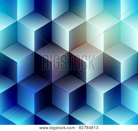 Geometric cubes pattern on blue lurred background.