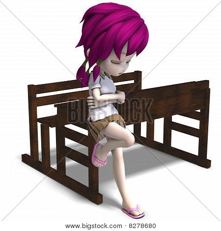 cute little cartoon school girl leaning on a