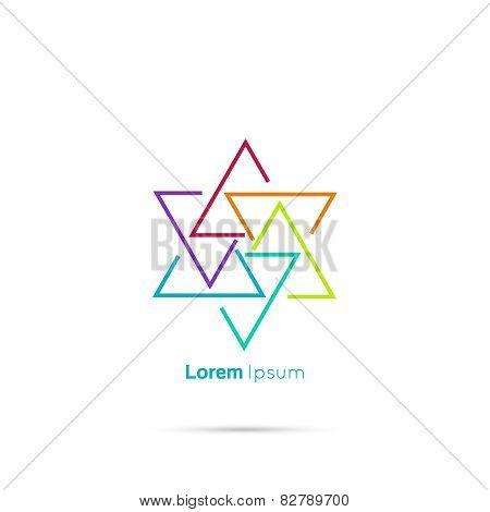 Triangle social beauty vector logo
