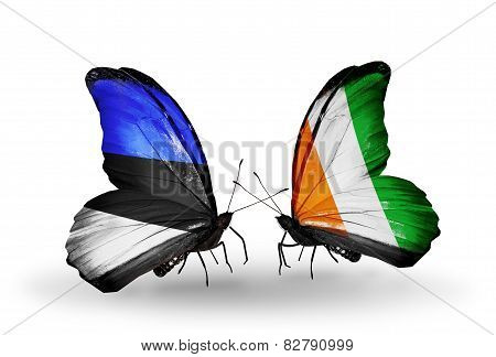 Two Butterflies With Flags On Wings As Symbol Of Relations Estonia And Cote Divoire