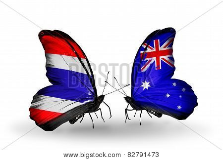 Two Butterflies With Flags On Wings As Symbol Of Relations Thailand And Australia