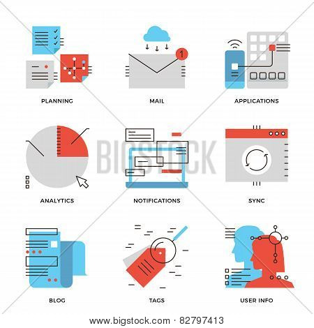 Business Data And Communication Line Icons Set