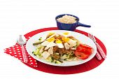 Indonesian food Gado Gado with brown rice isolated over white poster