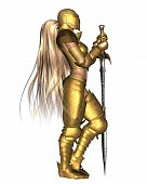 3d Digitally rendered illustration of a female fantasy warrior wearing golden armour, in a relaxed standing pose poster