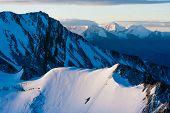 View to the gacier on Stok Kangri during sunrise in 6000 metres altitude Ladakh Northern India Himalayas poster