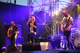 Guano Apes rock band perform during Most festival on Borovaya airfield in Minsk, July 3, 2014