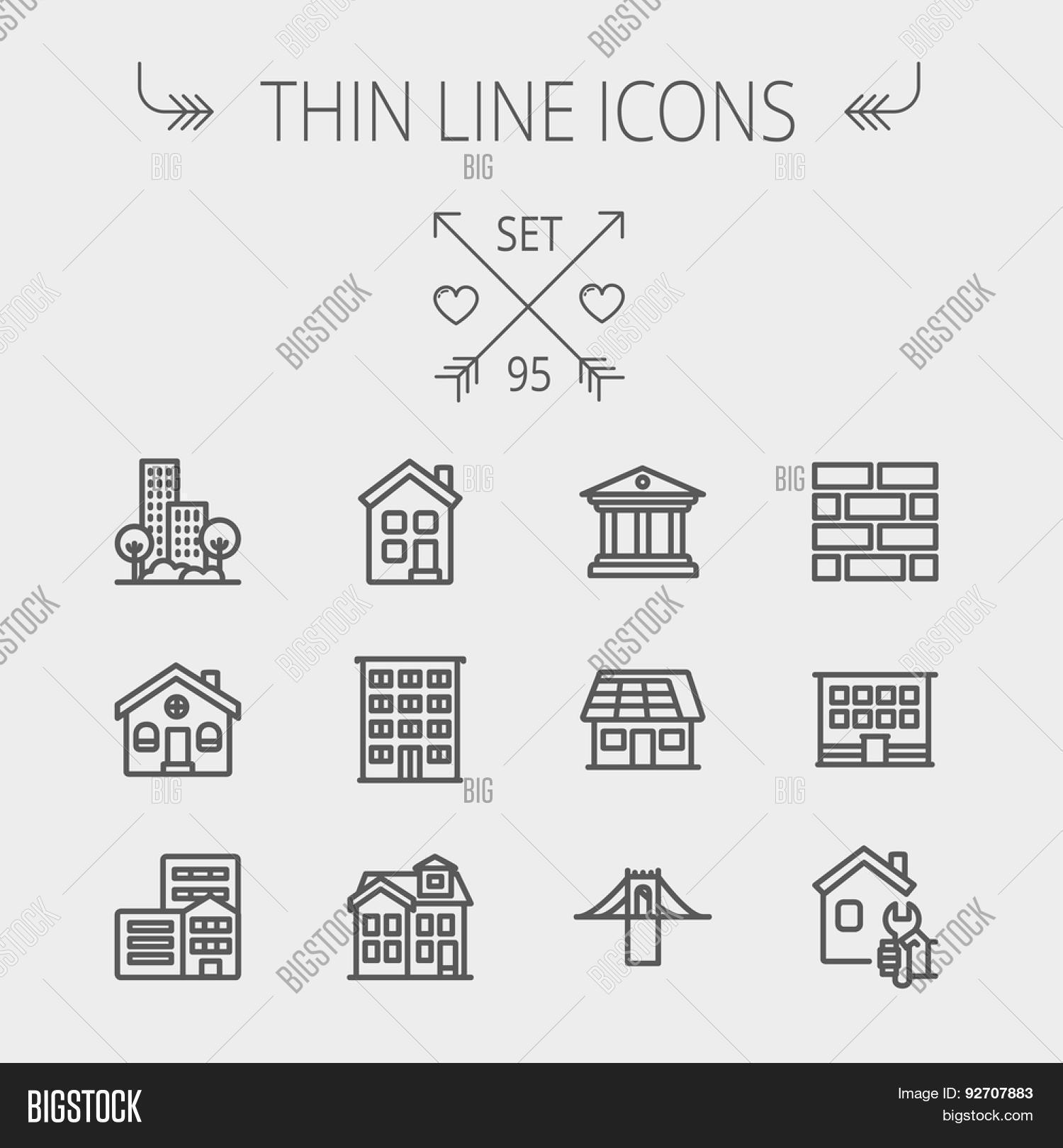 Construction Thin Line Icon Set For Web And Mobile Includes