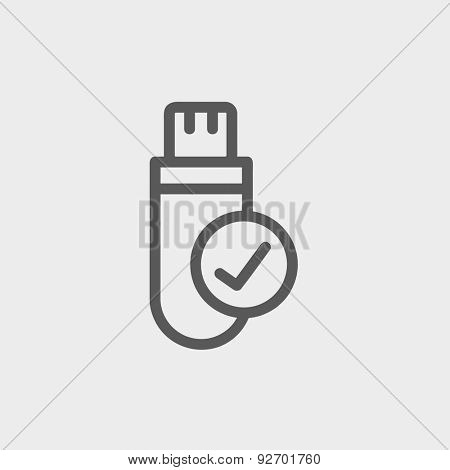 USB flash drive icon thin line for web and mobile, modern minimalistic flat design. Vector dark grey icon on light grey background.
