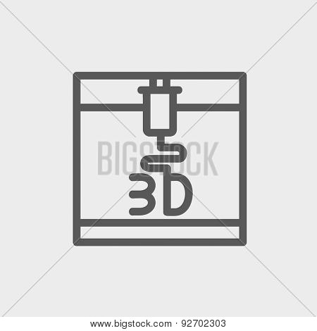 3D printer icon thin line for web and mobile, modern minimalistic flat design. Vector dark grey icon on light grey background.