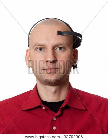 Portrait of young man with EEG (electroencephalography) headset on head. Isolated on white background. poster