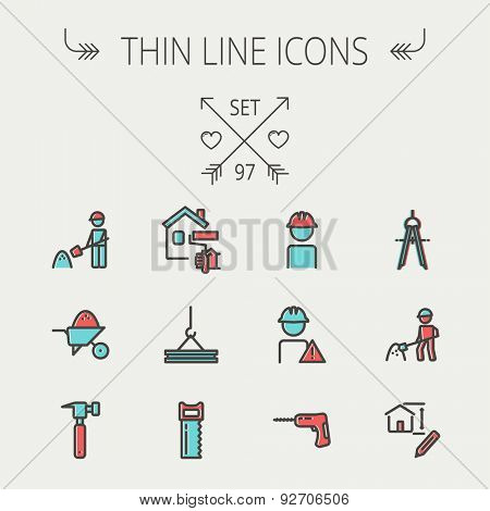 Construction thin line icon set for web and mobile. Set includes - compass, house sketch, man with hard hat, hammer drill, house paint, crane, hacksaw, hammer. Modern minimalistic flat design. Vector