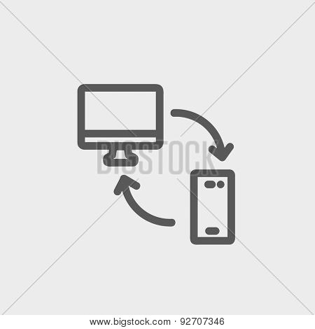 Data transferring from laptop to smartphone icon thin line for web and mobile, modern minimalistic flat design. Vector dark grey icon on light grey background.