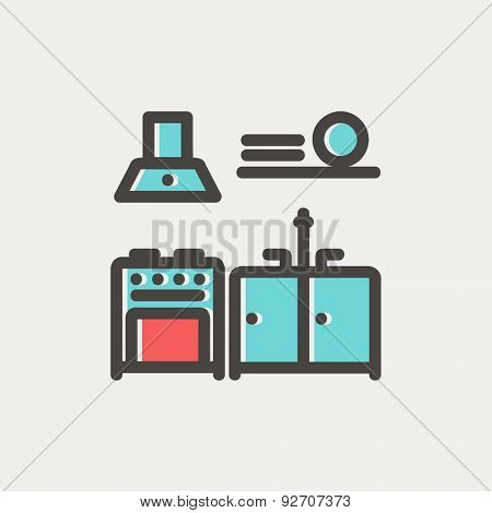 Kitchen interior icon thin line for web and mobile, modern minimalistic flat design. Vector icon with dark grey outline and offset colour on light grey background.