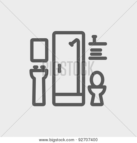 Bathroom icon thin line for web and mobile, modern minimalistic flat design. Vector dark grey icon on light grey background.