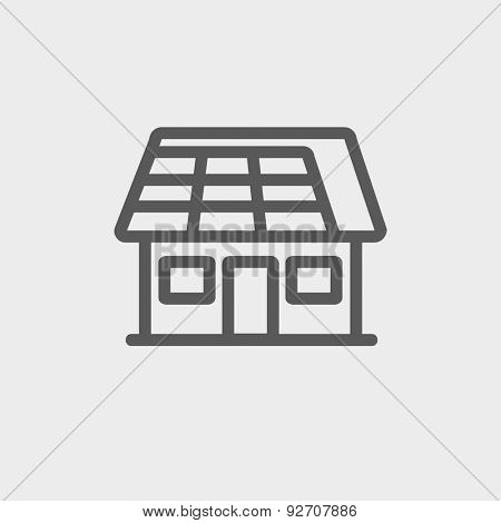 House with solar panel icon thin line for web and mobile, modern minimalistic flat design. Vector dark grey icon on light grey background.