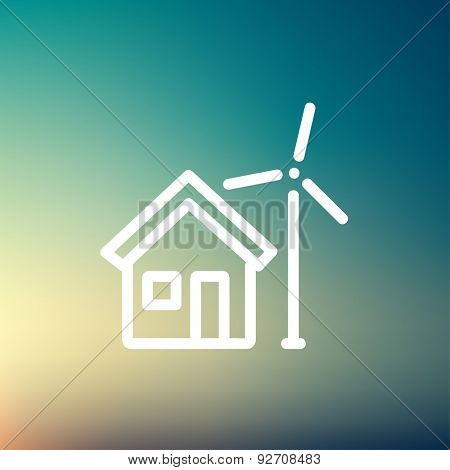 House and windmill icon thin line for web and mobile, modern minimalistic flat design. Vector white icon on gradient mesh background.