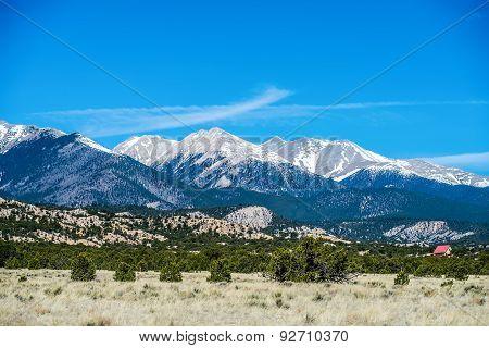 the colorado roky mountains with many vista views poster