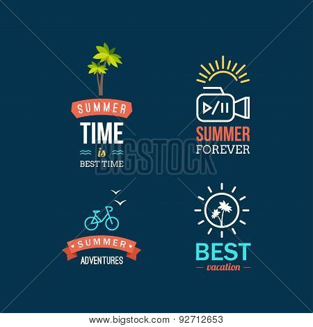 Summer Holidays Design Elements. Retro And Vintage Templates For Labels, Badges, Logotypes