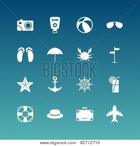 Summer Holidays Vector Icon Set. Flat Design White Icons On Blue Background