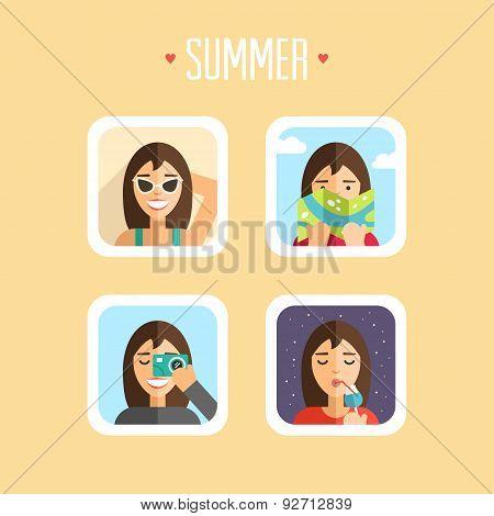 Set Of Summer Holidays Vector Illustrations. Flat Design. Sunbathe, Map, Photoshoot, Ice Cream