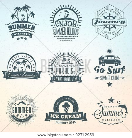 Set Of Retro Summer Holidays Vintage Labels Or Badges. Vector Design Elements