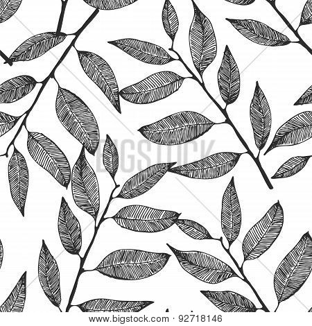 Leaves Pattern, Seamless Background