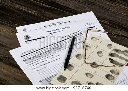 Usa America Citizenship Application With Glasses