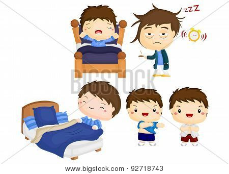 a vector of kid and man waking up from sleep poster