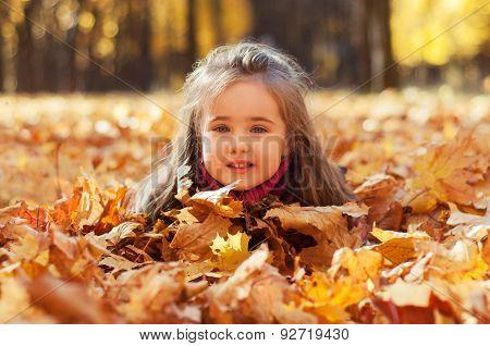 Little beautiful girl lies in maple leaves