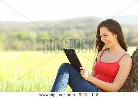 Relaxed Woman Reading An Ebook In The Country
