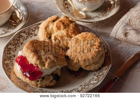Traditional English Afternoon Tea and Scones