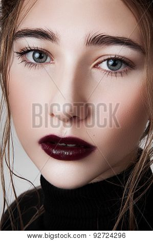 Beauty Model With Wine Lips