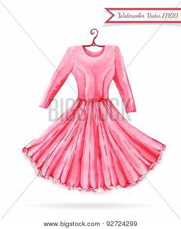 Bright Pink Hanger Dress Watercolor Sketch