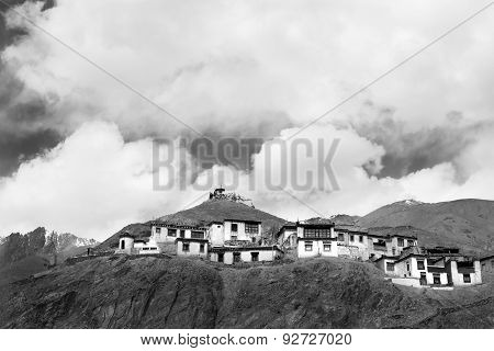 Likir Monastery Ladakh ,india, Black And White Image