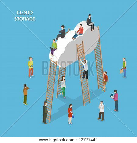 Cloud Storage Isometric Vector Concept